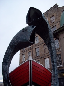 Fish statues at Comercial Quay, Leith
