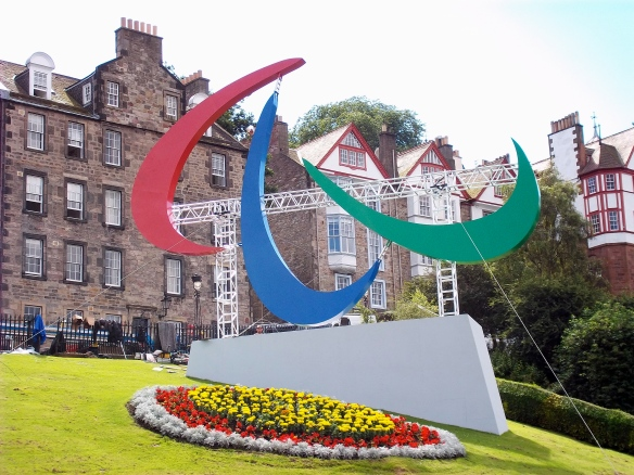 The Paralympic agitos, for Paralympics 2012, The Mound, Edinburgh, London Paralympics