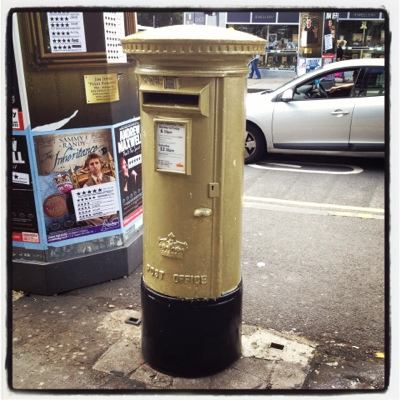 One of Sir Chris Hoy's Golden Olympic postboxes on Hanover Street in Edinburgh